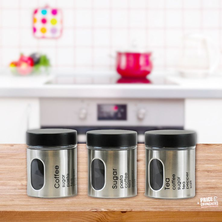 3 Pc Metal Glass Tea Coffee Sugar Canister Storage Set Kitchen Jars With  Lid #Highlands