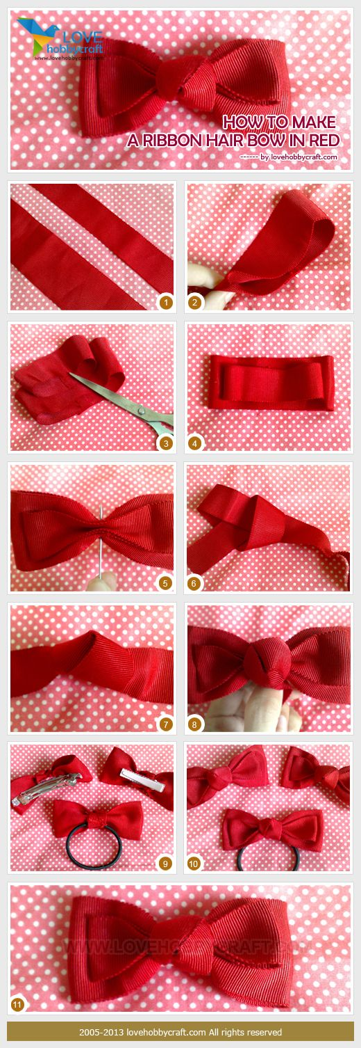 I know how to do the bow, but thought the middle was interesting. how to make a ribbon hair bow in red