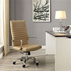 High back tan leather ribbed chair with polished chrome accents.