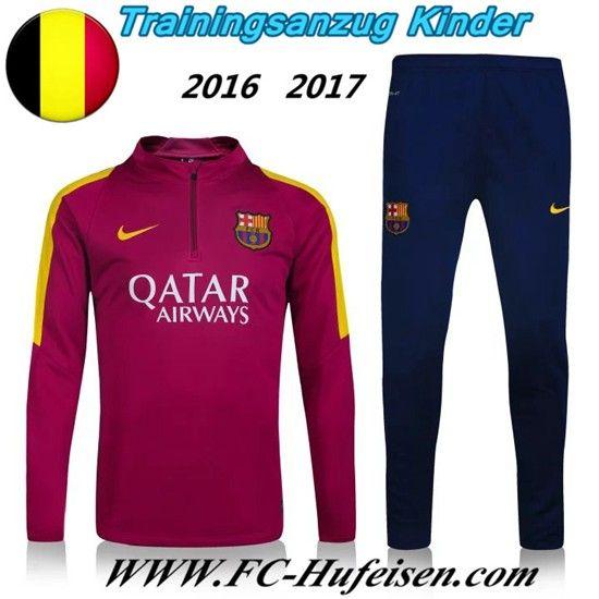 Schönsten Neue Fußball Trainingsanzug FC Barcelona Kinder Kits Ecarlate 2016 2017 Meaney