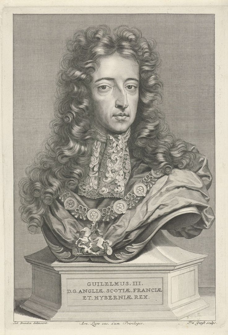 Portret van Willem III, prins van Oranje-Nassau, koning van Engeland, Stadhouder van de Nederlandse Republiek, Pieter van Gunst, 1689