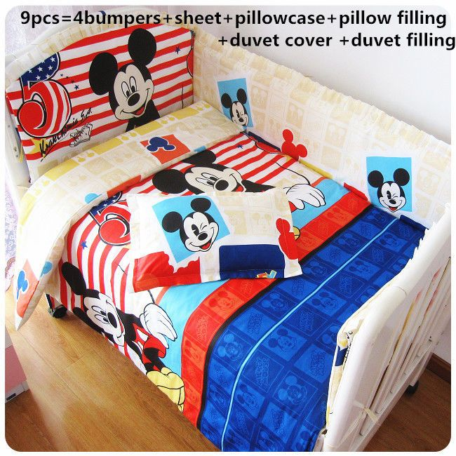 Mickey Mouse Baby Crib Bedding Set 6/7/9 PCS Comforter Fitted Sheet Bumper Duvet #Unbranded