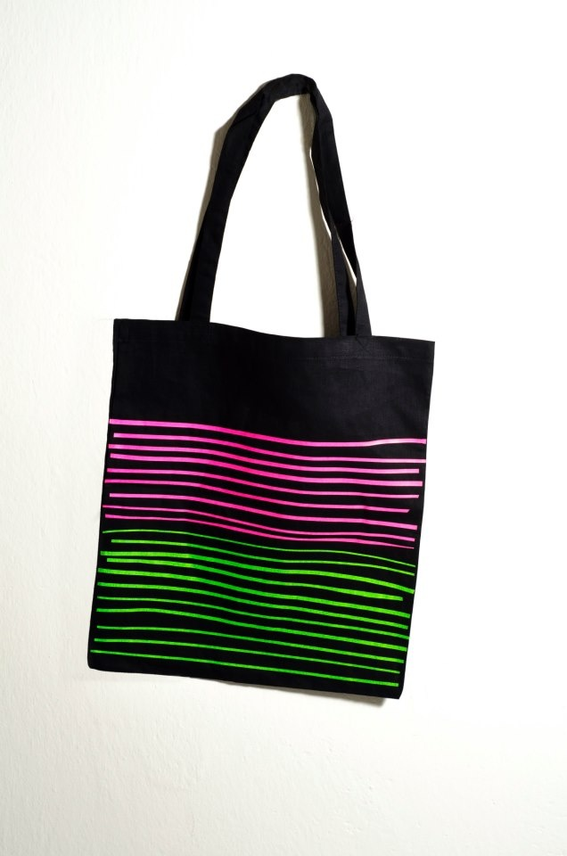 Black Tote Bag Design : Neon Stripes