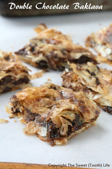 Double Chocolate Baklava - layers of filo dough, chocolate chips, butter, and chocolate syrup. Decadent elegance, but oh so easy!
