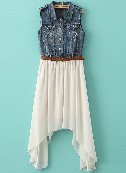 White Contrast Denim Asymmetrical Chiffon Dress - Sheinside.com