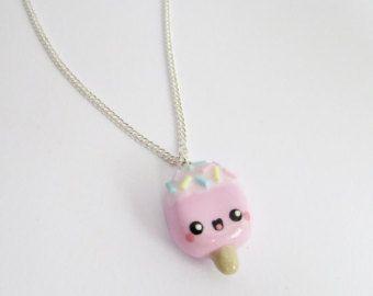 Popsicle ketting, Ice lolly ketting, polymeer klei charme, cadeau voor haar, Valentijnsdag geschenk, handgemaakte, miniatuur voedsel, voedsel juwelen, kawaii