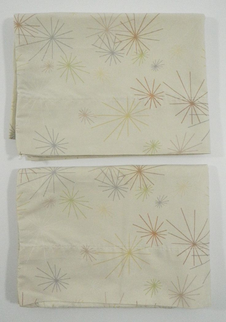 Springs Starburst Atomic Retro Vintage Standard Size Pillowcase Set of 2 Beige Tan Neutral Pillow Case Made in the USA by TraSheeWomen on Etsy #springs #springsglobal #vintage #retro #atomic #starburst #pillowcases #bedding #beige