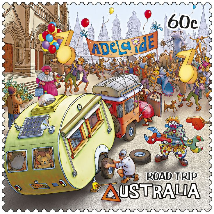 A bustling Adelaide illustrated on our stamp