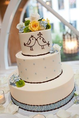 Love Birds Wedding Cake (Navy for the details and flowers be pink pastels.)