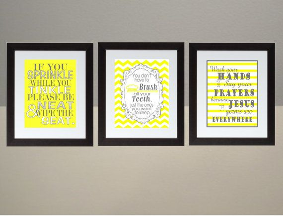 Yellow Gray Chevron bathroom Wall Art Print Set by FaithHopeNHome