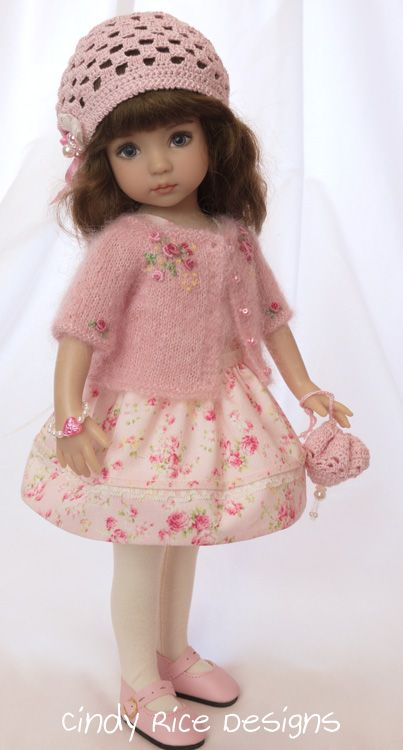"""A Vision in Pink"", a handmade ensemble for Dianna Effner's Little Darling dolls. cindyricedesigns.com:"