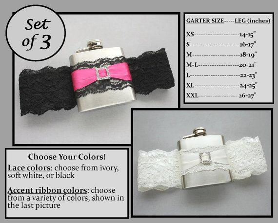 Three 3 Flask Garters: Bridesmaids Gift Set by MoonshineBelle