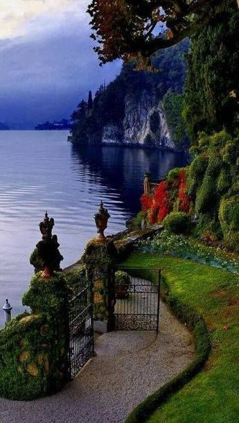 Gate opens to Lake Como - Italy