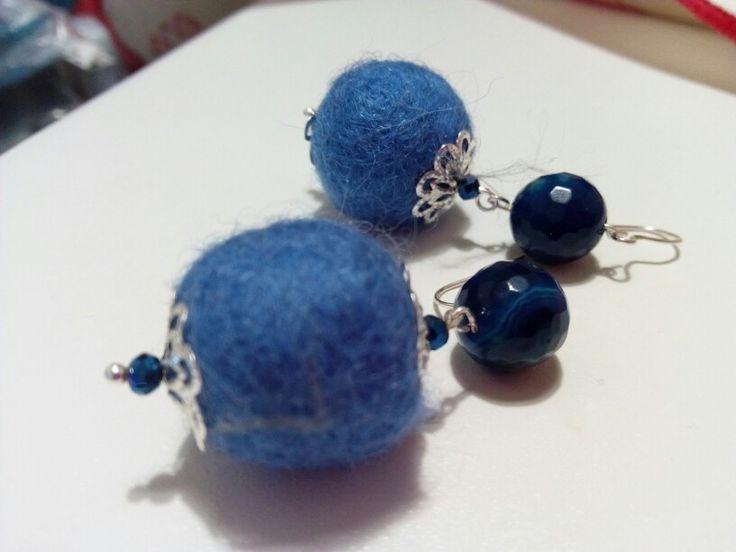 Light blue Felt hamdmade earrings diy