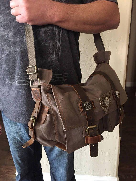 Large Cross Body Bags, Steampunk Bag, Satchel, Men's Bag, Travel Bags, Canvas Satchel Bags, Messenger Bag, Mens Travel Bags, Time Travel Bag