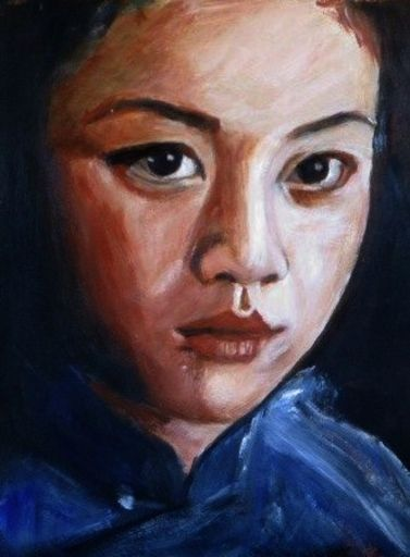 Chinese super star: Tang Wei, acrylic on paper