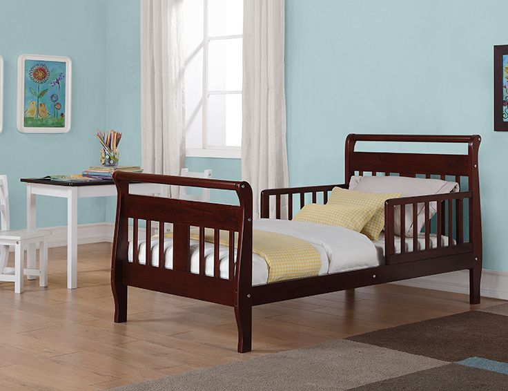 Make the transition from the crib to the standard-height bed easy with the Baby Relax Toddler Bed in espresso. With its low-to-the-floor height, this bed is just right for a toddler!