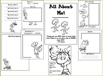 FREE!!  Dr. Seuss All About Me Printable Book