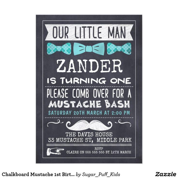Chalkboard Mustache 1st Birthday Invitation