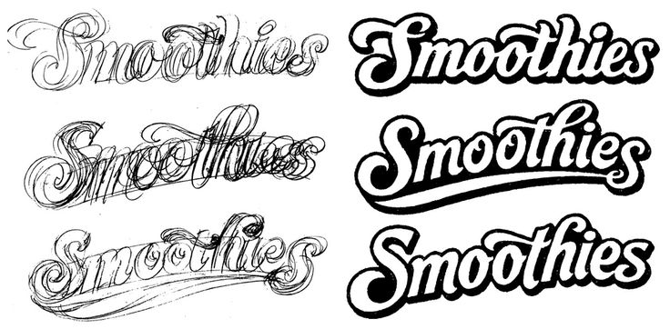 Alan Ariail documents the development of the Smoothies logo on his blog (custom-lettering.blogspot.com/2013/01/smoothies-logo-development.html). He drives home the importance of sketching and overlays right here.