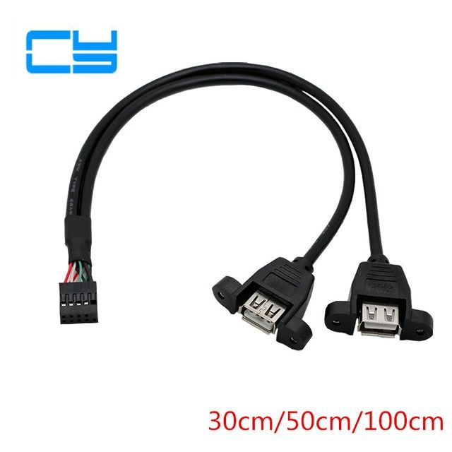 30cm Dual USB2.0 A Type Female to Motherboard 9Pin Header Cable with Screw Panel