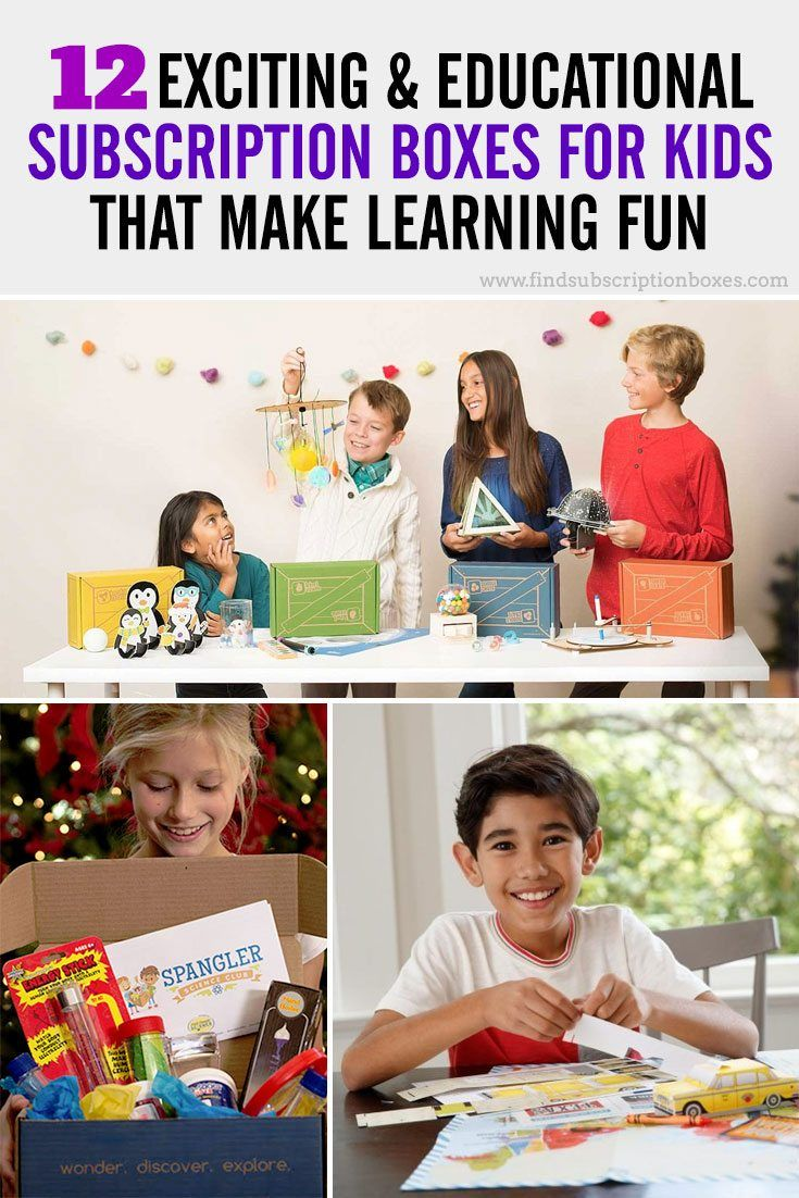 12 exciting & educational subscription boxes for kids that make learning fun! Fun crafts, science projects, books & activities delivered to your door! http://www.findsubscriptionboxes.com/magazine/12-exciting-educational-subscription-boxes-for-kids/?utm_campaign=coschedule&utm_source=pinterest&utm_medium=Find%20Subscription%20Boxes&utm_content=12%20Exciting%20and%20Educational%20Subscription%20Boxes%20for%20Kids%20That%20Make%20Learning%20Fun