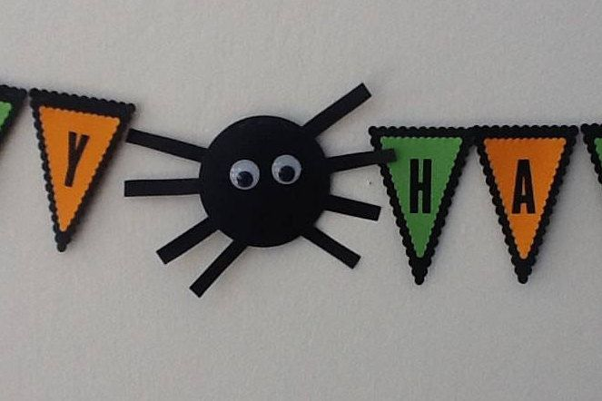 Happy Halloween banner-Custom Spider-Bat-Pumpkin-Orange-Black-Green Bunting Decoration  by GiraffeinaBath on Etsy