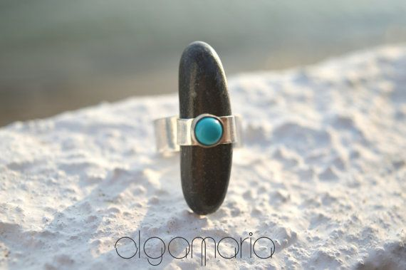 Unique Ring Turquoise Ring Black Beach stone by JewelInspirations
