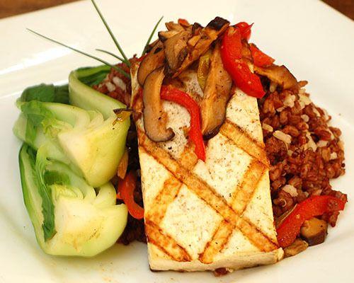 Miso Ginger Tofu Steak (LF) (F) : Miso ginger glazed tofu, Bok choy ...
