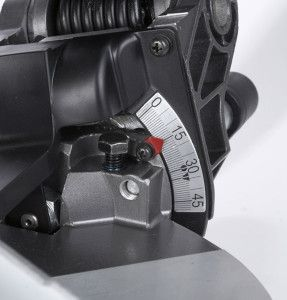 A close up of the Hitachi C10FCH2  Miter Saw http://bestmitersawguide.com/hitachi-c10fch2-10-inch-miter-saw-laser-review/