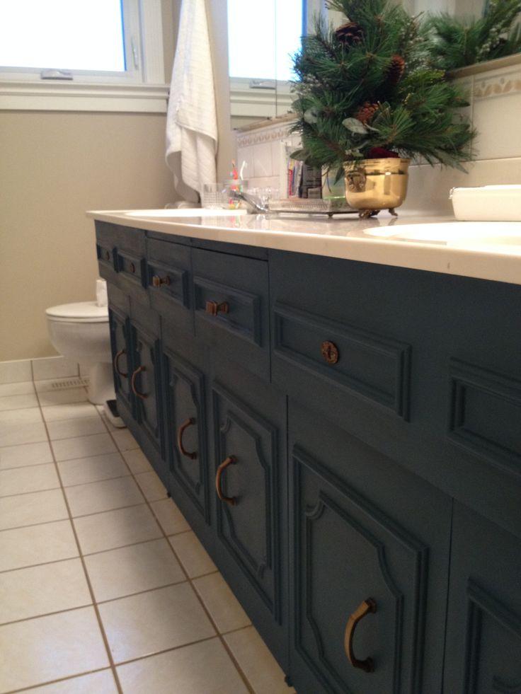 Bathroom Vanity Painted Aubusson Blue Annie Sloan S Chalk Paint With Dark Wax Bronze