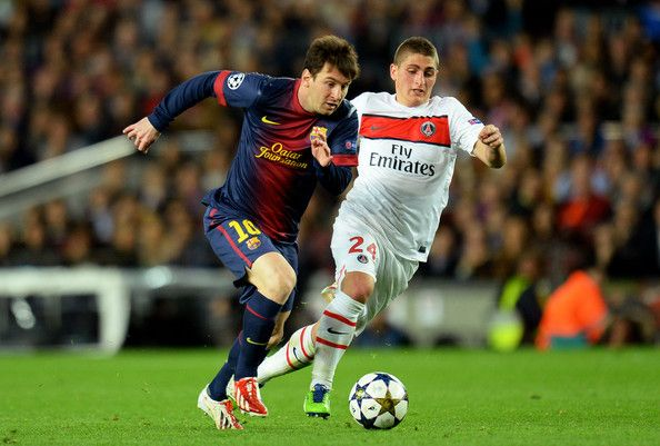 Lionel Messi Photos Photos - Lionel Messi of Barcelona breaks away from Marco Verratti of PSG during the UEFA Champions League quarter-final second leg match between Barcelona and Paris St Germain at Nou Camp on April 10, 2013 in Barcelona, Spain. - Barcelona v Paris St Germain