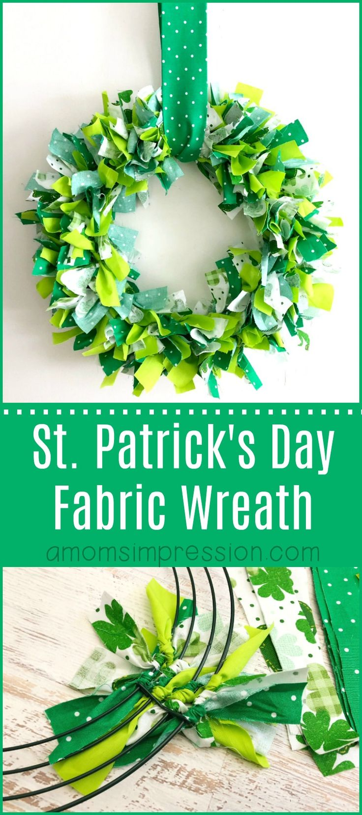 This fabric shamrock wreath is easy to put together and is the perfect  addition to your St. Patty's decor! #StpatricksDay #DIY #Wreath