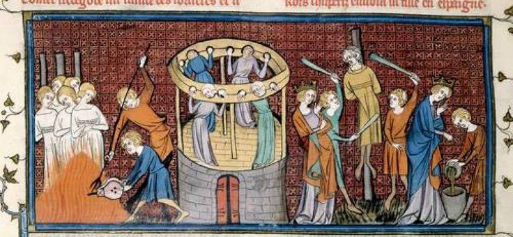 Detalle de una miniatura que muestra la quema y tortura de brujas, British Library, Royal 16 G VI f. 64.