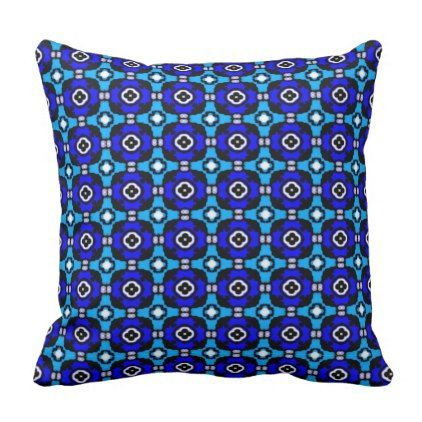 Cobalt Blue and Turquoise Parquet Tile Pattern Throw Pillow - pattern sample design template diy cyo customize
