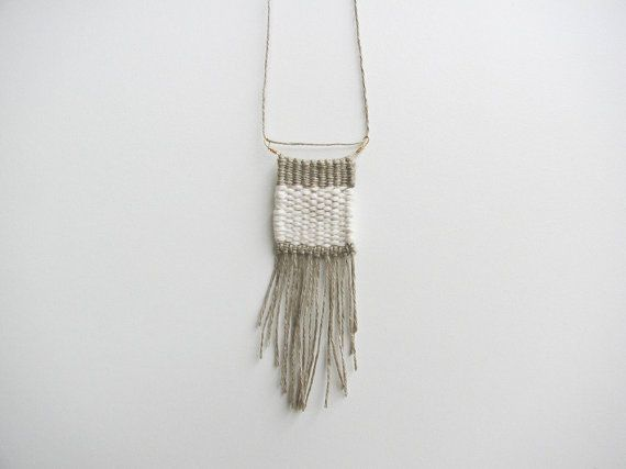 Natural Linen/Cotton Woven Necklace by karibreitigam on Etsy, $56.00