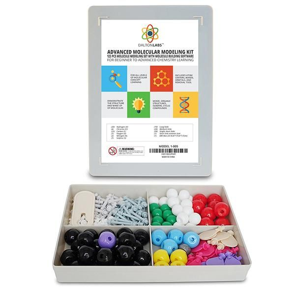 123 pcs. Teacher Edition Molecular Model Set | All parts are made of durable and sturdy plastic which are color coded to national standards. This is a great set for both students and teachers to aid in course studies!