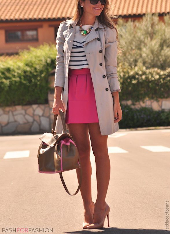 Pink skirt with stripe top and trench. Fun sophisticate