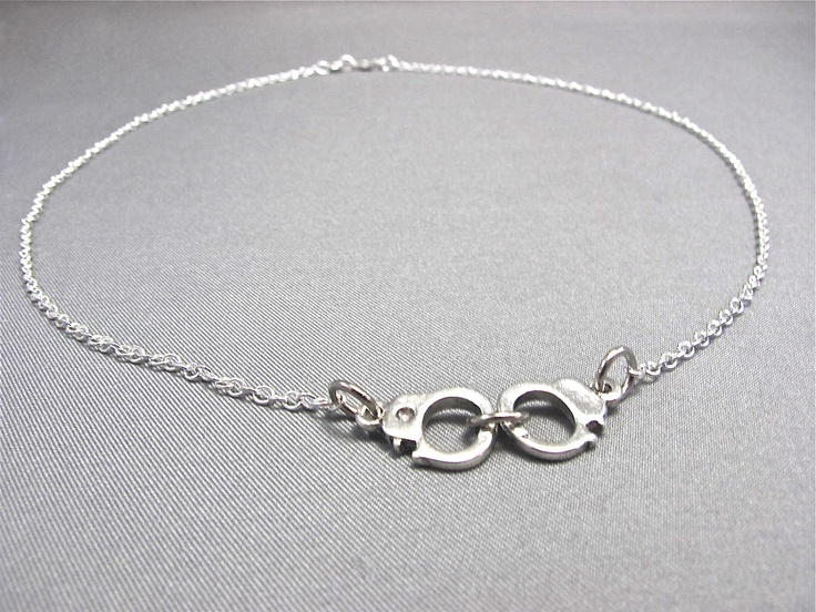 Silver Handcuffs Necklace Fifty Shades of Grey by PureGrey on Etsy, $18.95