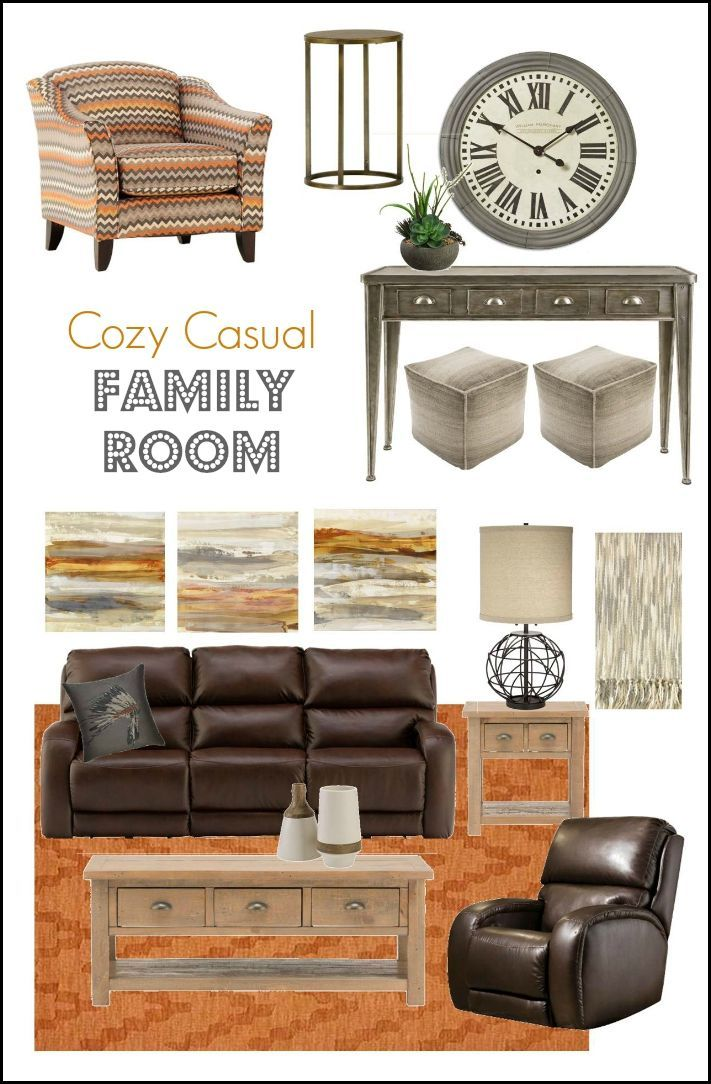 Cozy and Casual Family Room Mood Board - brown leather furniture, rustic tables, orange accents, mixed metals