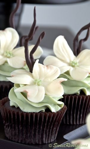 Chocolate Mint Cupcakes with beautiful white modeling chocolate flowers.: Mint Cupcakes, Flowers Cupcakes, White Flowers, Dogwood Flowers, Dogwood Cupcakes, White Chocolate, Chocolates Cupcakes, Models Chocolates, White Models