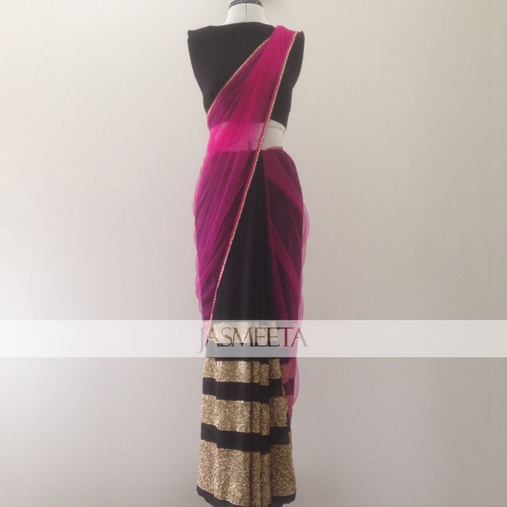 Half black georgette with sequin work, half pink net with thin gold border sari