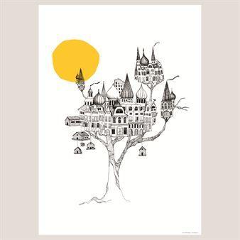 Dieses Poster des schwedischen Designlabels Mini Empire hat einen Baum als Motiv, der von luxuriösen, phantasievollen Vogelnestern bebaut wird. Illustration von Jenny von Döbeln.