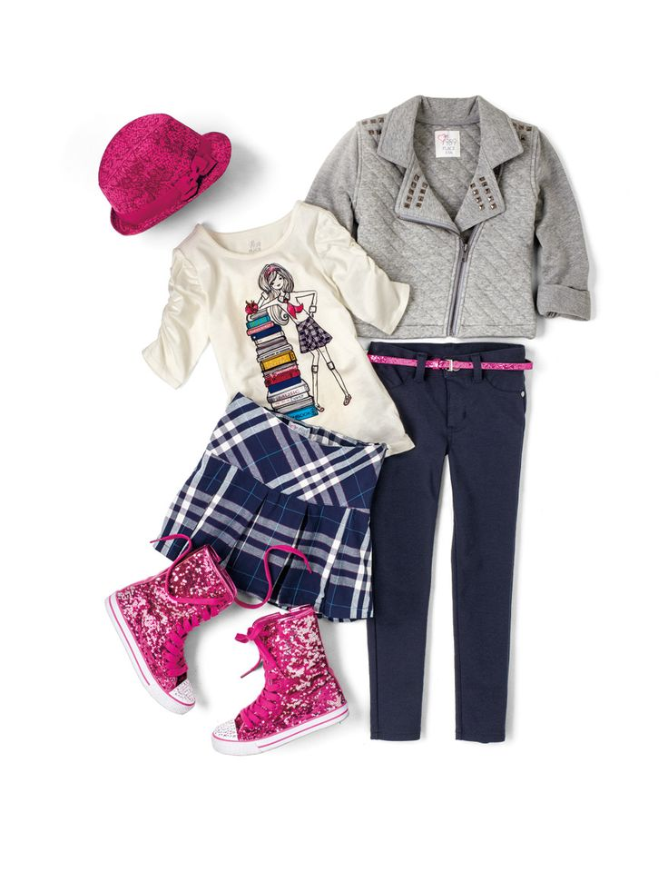 Back to School Uniforms | The Children's Place #glitterboots #jacket #hat