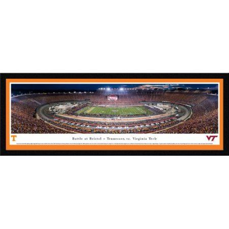 Battle at Bristol - TN vs Vtech Football - Blakeway Panoramas College Print with Select Frame and Orange Mat