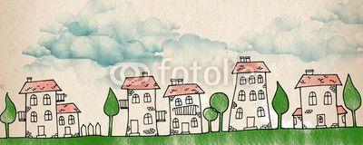 Quadro Cartoon city #stampasutela #stampa su #tela #regalaunquadro  #quadri per #cameradaibambini #plexiglassi #panello #bordato #panellobordato #quadri per #camera dai #bambini Codice art.: 53536624