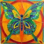 """Ručně malovaná vitráž - """"Motýl"""" (20x20 cm) Hand Painted Stained Glass"""