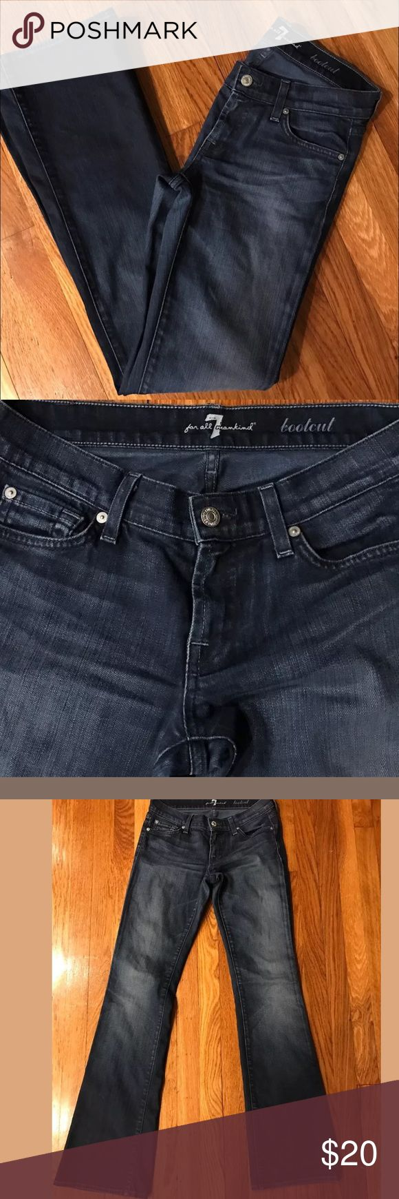 """7 For All Mankind Bootcut Dark Dakota Jeans 7 For All Mankind Bootcut in Dark Dakota Women's Jeans SZ 25  Excellent condition.   Measurements are approximate:  Waist - 13.5"""" Inseam - 33.5"""" Leg opening at cuff - 8"""" Outseam: 41"""" 7 For All Mankind Jeans Boot Cut"""