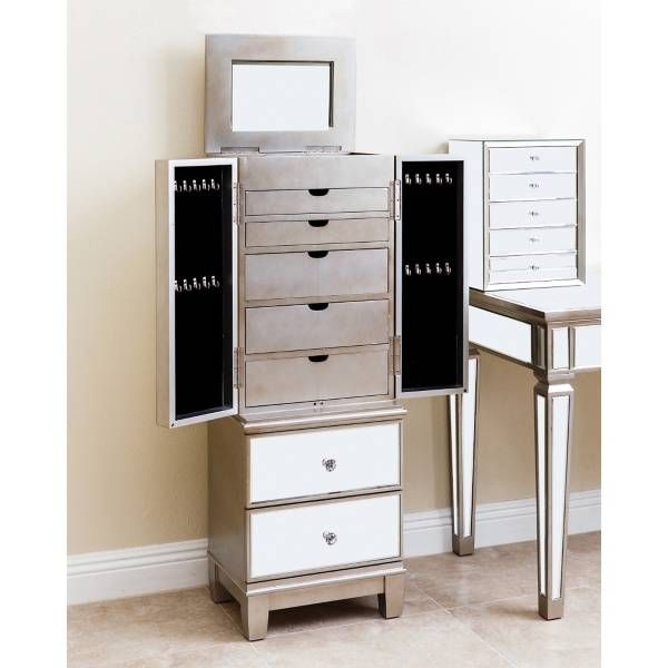 Abbyson Living® Sophie Mirrored Jewelry Armoire in Silver ...