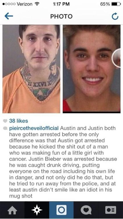 I don't like posting things that offend other fans with different taste in music but this just puts things into perspective. Austin got a lot of criticism while JB is getting publicity which is not all bad. people are justifying his actions by saying he was drunk so it's not his fault. ...I don't know, just something to think about.